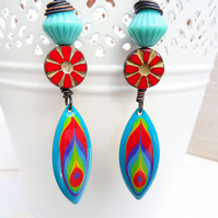 Enamelled Earrings, Boho Earrings, Turquoise Earrings, Red Earrings,