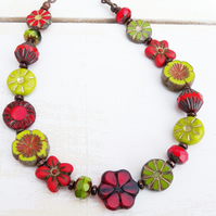 Czech Glass Necklace, Red Necklace, Green Necklace, Floral Necklace, Handmade.