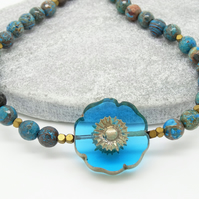 Jasper Necklace, Floral Necklace, Blue Necklace, Handmade Jewellery.