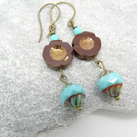 Czech Glass Earrings, Flower Earrings, Turquoise and Burgundy Earrings,