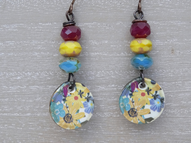 Floral Earrings, Ceramic Earrings, Czech Glass Earrings, Boho Earrings.