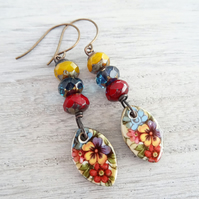 Ceramic Earrings, Czech Glass Earrings, Floral Earrings, Boho Earrings.