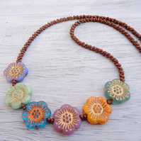 Anemone Necklace, Multicolour Necklace, Czech Glass Necklace, Flower Necklace.