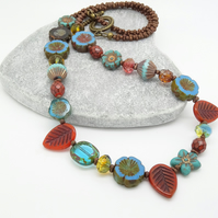 Floral Necklace, Turquoise Necklace, Chocolate Necklace, Leaf Necklace.