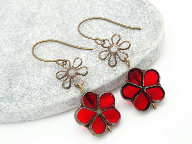 Flower Earrings, Red Earrings, Czech Glass Earrings, Boho Earrings.