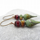 Lampwork Glass Earrings, Czech Glass Earrings, Burgundy Earrings, Green Earrings