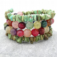 Faceted Agate Wrap Bracelet, Multi Coloured Bracelet, Boho Bracelet.