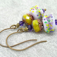 Lampwork Glass Earrings, Czech Glass Earrings, Lilac and Mustard Earrings.