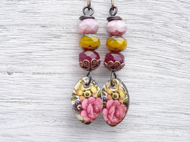 Ceramic Earrings, Floral Earrings, Boho Earrings, Pastel Shades Earrings.