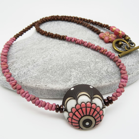Ceramic and Czech Glass Necklace, Dusky Pink and Chocolate Brown Necklace.