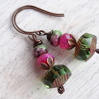 Fuchsia and Green Earrings, Jade Earings, Ruby Zoisite Earrings, Boho Earrings.