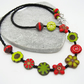 Czech Glass Necklace, Red Necklace, Lime Green Necklace, Flower Necklace.