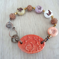 Ceramic Bar Bracelet, Woodland Bracelet, Pink, Cream, and Brown Bracelet.