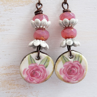 Ceramic Earrings, Floral Earrings, Czech Glass Earrings, Pink and Green Earrings