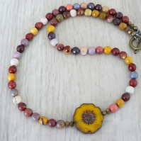 Mookaite Necklace, Czech Glass Necklace, Semi Precious Stone Necklace.