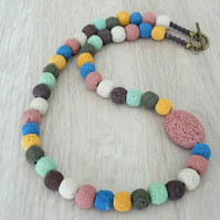 Lava Stone Necklace, Multicoloured Necklace, Beaded Necklace, Handmade Jewellery