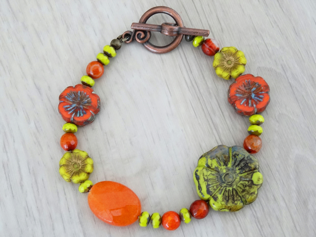 Czech Glass Bracelet,Chartreuse and Burnt Orange Bracelet,Ladies Bracelet.