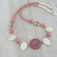 Leaf Necklace, Pansy Necklace, Daisy Necklace, Pink and Cream Necklace.