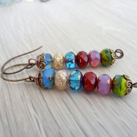 Czech Glass Faceted Rondell Earrings, Multicoloured Boho Earrings,