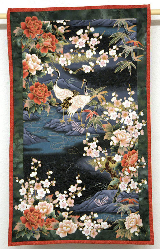 Wallhanging, Oriental style with Cranes and Blossom.