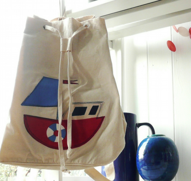 REDUCED. Lined Canvas Rucksack with Boat Applique