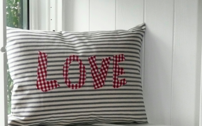SALE Love Striped Ticking Cushion