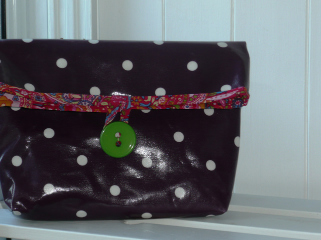 SALE Large Spotty Purple Cosmetic Bag