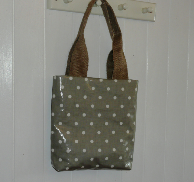 Grey Spot Oilcoth Little Tote Lunch Bag Folksy