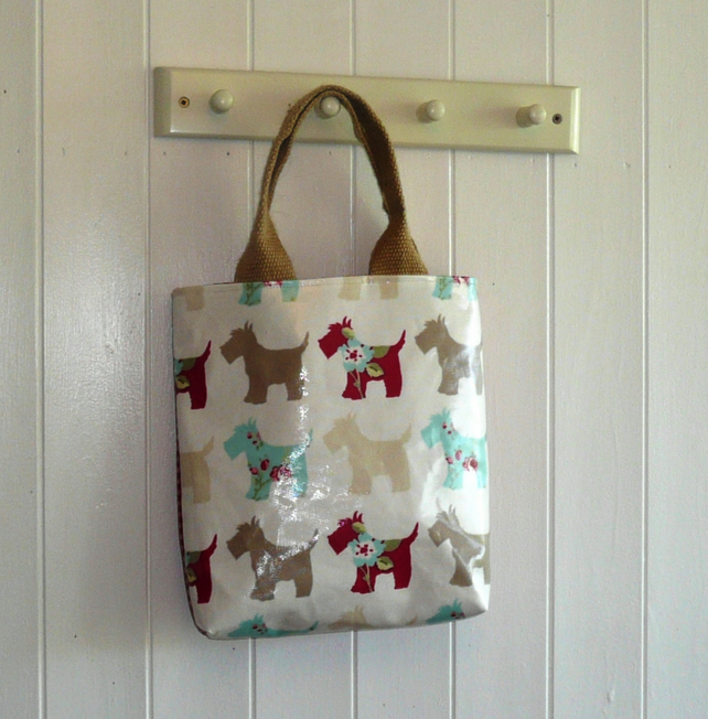 Scottie Oilcloth Little Tote Lunch Bag Folksy