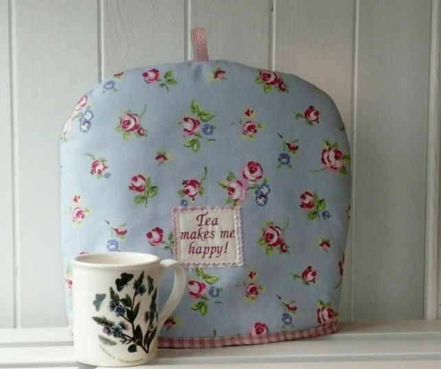 SALE Tea Makes Me Happy Floral Print Tea Cosy