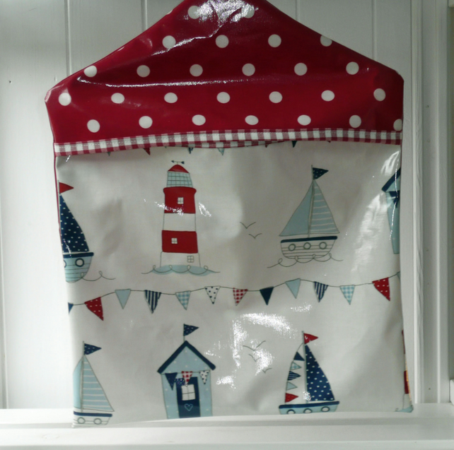 Nautical Seaside print coordinated with Red Spot Print PVC Oilcloth Peg Bag