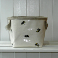 Bee Print Small Storage Basket PVC Oilcloth Type Fabric