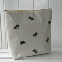 Honeybee  bee print  cosmetic bag in gloss finish oilcloth type fabric