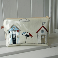 Beach Hut Print Oilcloth Zipped Make up Bag