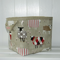 Large Storage Basket Sheep in Tweed Print Oilcloth Type Fabric