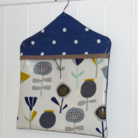 Scandi Style Floral & Blue Spotty Print  PVC Oilcloth Type fabric Peg Bag