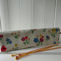 Knitting Needle Pouch Bag Springtime Floral Print