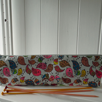 Knitting Needle Pouch Bag Scandi Style Bird Print Ripstop Nylon