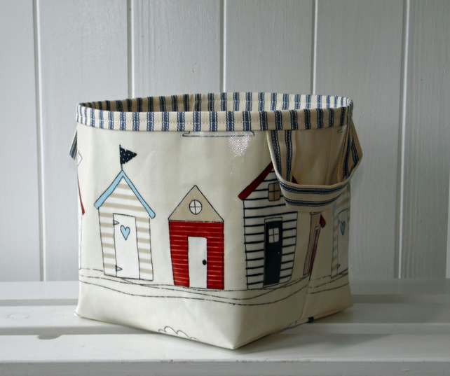 Beach Hut Storage Basket PVC Oilcloth Type Fabric small- ticking lining
