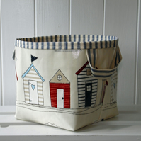 Beach Hut Small Storage Basket PVC Oilcloth Type Fabric- ticking lining