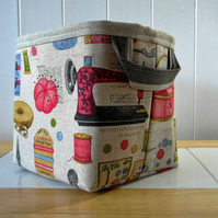 Storage Basket Vintage Knitting Sewing Print- small