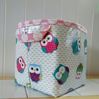 Large Storage Basket Owl Print Oilcloth type Fabric