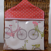 Vintage bicycle and pink spotty print PVC oilcloth peg bag