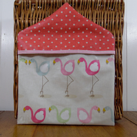 Pretty Flamingo print and pink spotty print PVC oilcloth peg bag