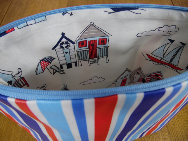 Seaside red white and blue striped large cosmetic bag- beach hut lining