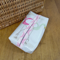 Pretty Flamingo pastel print wipe or tissue packet cover
