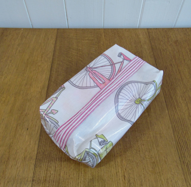 Totnes bicycle cycle print oilcloth water resistant wipe or tissue packet cover