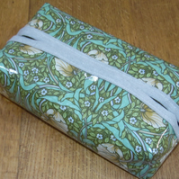 William Morris Pimpernel (green) Print Oilcloth Tissue or Wipe Packet Cover