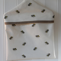 Honey Bee print coordinated with Taupe Spot Print PVC Oilcloth Peg Bag