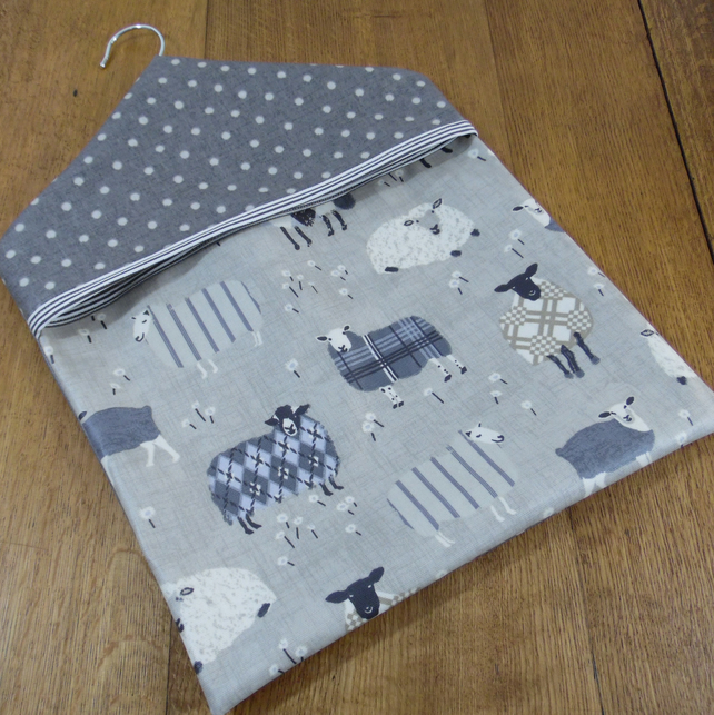 Baa Baa Sheep Print Coordinated with Grey Spotty Print PVC Oilcloth Peg Bag